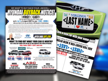 Full Variable Buyback Double Postcard License Plate Mailer