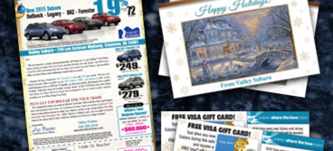 Holiday Card Mailer with Gift Card Affixed